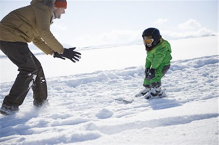 Father and boy learning to ski Stock Photo - Premium Royalty-Free, Code: 618-07612303