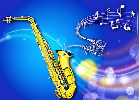 pic music note symbol - saxophone and Music Stock Photo - Premium Royalty-Free, Code: 618-07653835