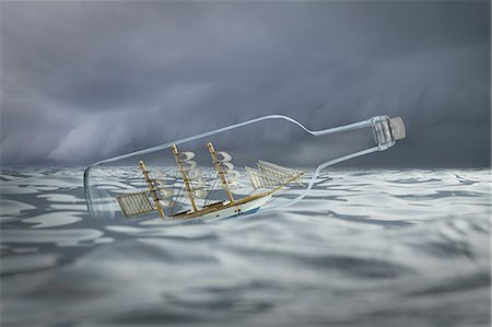 ships at sea - Ship in a bottle in rough waters Stock Photo - Premium Royalty-Free, Code: 618-07809595