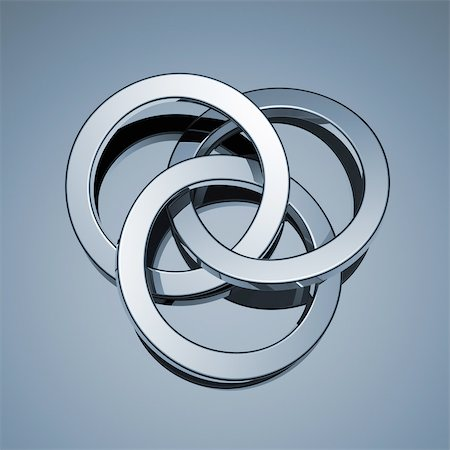 Three connected rings Stock Photo - Premium Royalty-Free, Code: 618-08067455