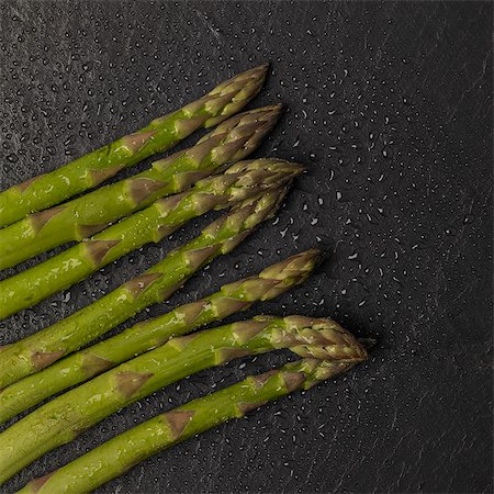 slate - Fresh Asparagus spears on slate Stock Photo - Premium Royalty-Free, Code: 618-08687430