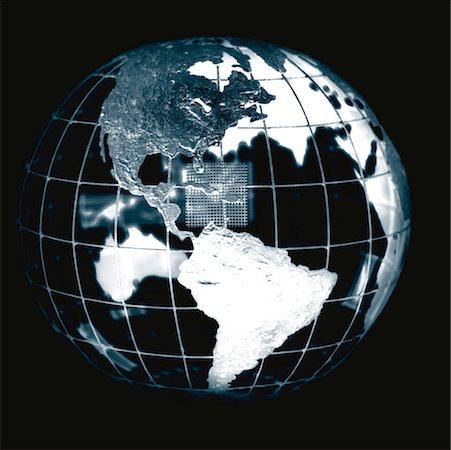 a metal globe (black and white) Stock Photo - Premium Royalty-Free, Code: 618-00463402