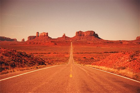 road landscape - USA, Utah, Monument Valley National Park, View of empty road Stock Photo - Premium Royalty-Free, Code: 618-01049563