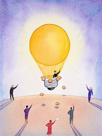 Woman in lightbulb-shaped hot air balloon; men and women waving at her Stock Photo - Premium Royalty-Free, Code: 618-01417120