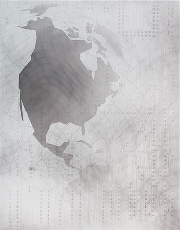 North America on a Globe Over a Circuit Board Stock Photo - Premium Royalty-Free, Code: 618-01417201