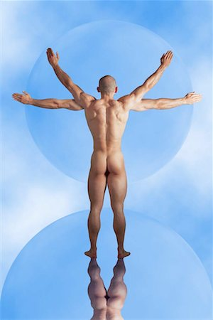 Back of nude man with four arms Stock Photo - Premium Royalty-Free, Code: 618-01420993