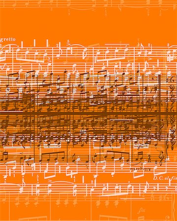 sheet music background - Musical notes over orange background Stock Photo - Premium Royalty-Free, Code: 618-01421057