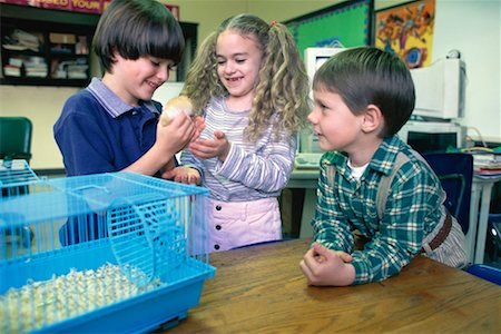 Girl and two boys playing with school hamster Stock Photo - Premium Royalty-Free, Code: 618-01445965