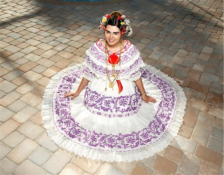 panama traditional costume - teen girl wearing a traditional Panamanian Pollera Stock Photo - Premium Royalty-Free, Code: 618-03612172