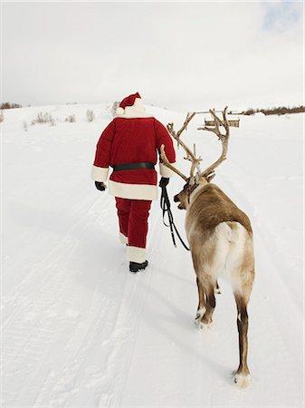 reindeer in snow - Santa Claus leading his reindeer through the snow Stock Photo - Premium Royalty-Free, Code: 618-03612596