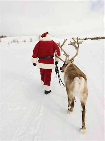 reindeer in snow - Santa Claus leading his reindeer through the snow Stock Photo - Premium Royalty-Free, Code: 618-03612596