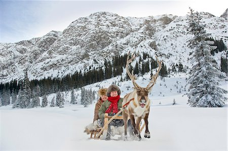 reindeer in snow - A reindeer pulling a senior couple on a sleigh Stock Photo - Premium Royalty-Free, Code: 618-03612675