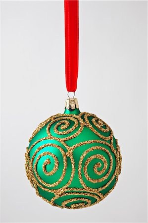 Green gold Christmas ornament Stock Photo - Premium Royalty-Free, Code: 618-03630431