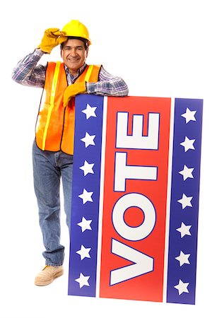 stars on white background - Latino Construction Worker Leaning on a Vote Sign Stock Photo - Premium Royalty-Free, Code: 618-03780202