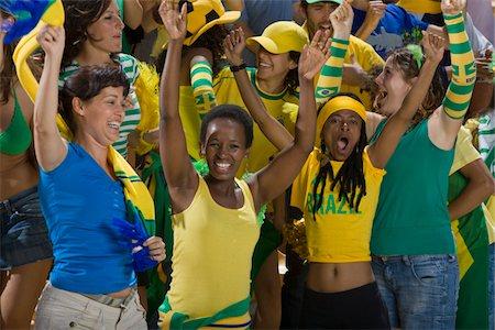 soccer fan - Brazilian fans cheering Stock Photo - Premium Royalty-Free, Code: 618-03848466