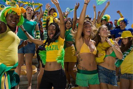 soccer fan - Brazilian fans cheering Stock Photo - Premium Royalty-Free, Code: 618-03848469