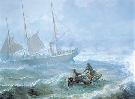 sailing boat storm - Norway, Oslo, Bygdoy maritime museum, painting Stock Photo - Premium Royalty-Free, Code: 610-00257442