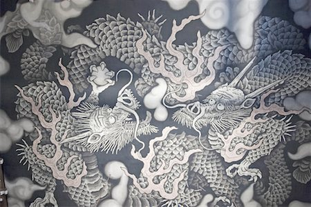 Japan, Kyoto, Kenninji zen temple, paintings of the ceiling Stock Photo - Premium Royalty-Free, Code: 610-00800673