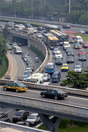 road landscape - China, Beijing, traffic on the highways seen from the ramparts Stock Photo - Premium Royalty-Free, Code: 610-02001044