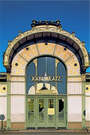 Austria, Vienna, Karlsplatz cafe, Art nouveau facade Stock Photo - Premium Royalty-Free, Code: 610-02373730