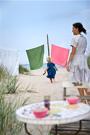 Mother and daughter on  the beach, Oland, Sweden. Stock Photo - Premium Royalty-Free, Code: 6102-03867407