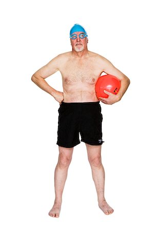 seniors and swim cap - Senior man with a bathing cap. Stock Photo - Premium Royalty-Free, Code: 6102-03904868