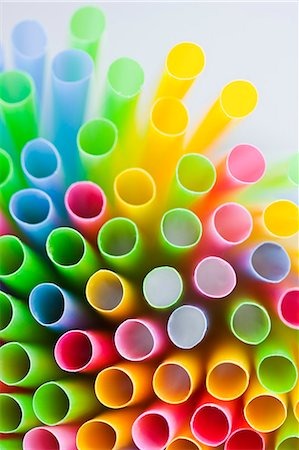 Studio shot of colorful drinking straws Stock Photo - Premium Royalty-Free, Code: 6102-06777580