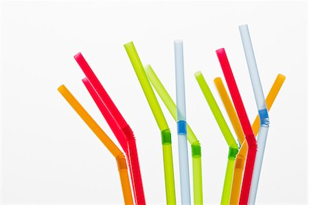 Studio shot of colorful drinking straws Stock Photo - Premium Royalty-Free, Code: 6102-06777581