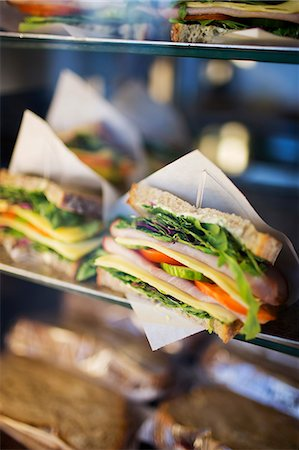shop - Sandwich on display in cafe, Stockholm, Sweden Stock Photo - Premium Royalty-Free, Code: 6102-07158329