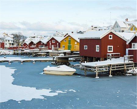 settlement - Buildings at winter harbor, Halleviksstrand, Bohuslan, Sweden Stock Photo - Premium Royalty-Free, Code: 6102-07768613