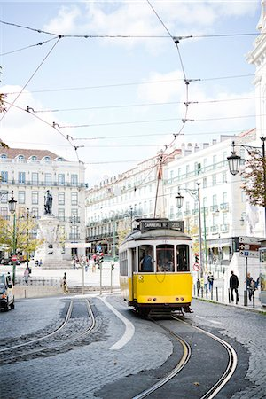 portugal - Yellow Lisbon tram Stock Photo - Premium Royalty-Free, Code: 6102-07842948