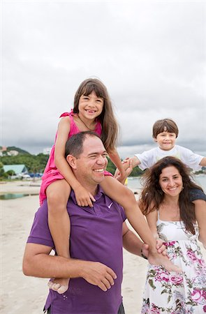 Parents son and daughter on beach Stock Photo - Premium Royalty-Free, Code: 6102-07843334