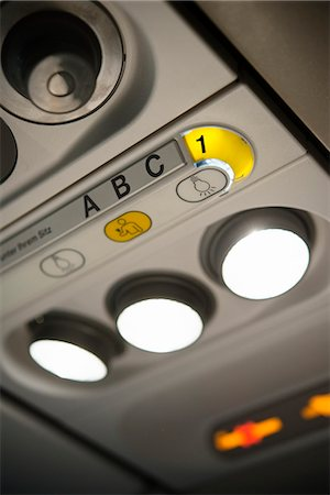 Lights in airplane, close-up Stock Photo - Premium Royalty-Free, Code: 6102-07843505