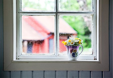 Wildflowers in jug on windowsill Stock Photo - Premium Royalty-Free, Code: 6102-07844037