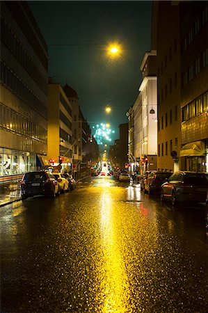 street - City street at night, fireworks on background Stock Photo - Premium Royalty-Free, Code: 6102-08000741
