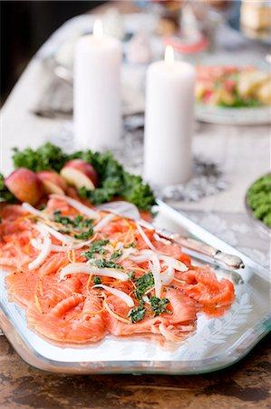 smoked - Smoked salmon on serving dish Stock Photo - Premium Royalty-Free, Code: 6102-08000709