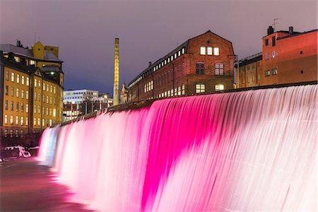 settlement - Illuminated Cotton Mill Waterfall Stock Photo - Premium Royalty-Free, Code: 6102-08120218