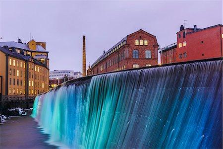 settlement - Illuminated Cotton Mill Waterfall Stock Photo - Premium Royalty-Free, Code: 6102-08120219