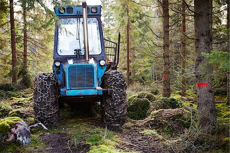 Tractor in forest Stock Photo - Premium Royalty-Free, Code: 6102-08120723