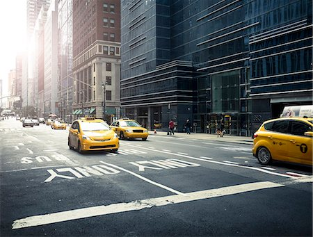 street - Yellow taxis on street Stock Photo - Premium Royalty-Free, Code: 6102-08271178