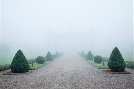 forward - Graveled footpath in garden at foggy day Stock Photo - Premium Royalty-Free, Code: 6102-08271417