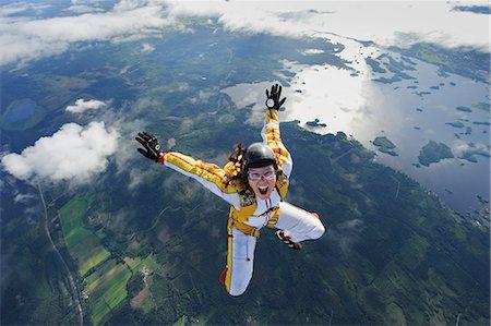 A female parachute jumper, Sweden. Stock Photo - Premium Royalty-Free, Code: 6102-08566105