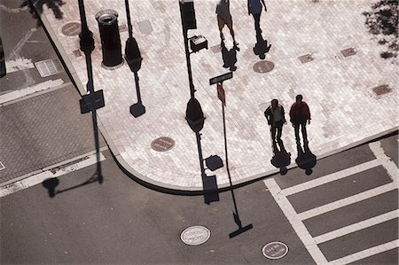 High angle view of people crossing a road, Atlantic Avenue, Congress Street, Boston, Massachusetts, USA Stock Photo - Premium Royalty-Free, Code: 6105-05395952