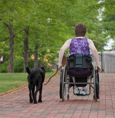 dependable - Woman with multiple sclerosis in a park with a service dog Stock Photo - Premium Royalty-Free, Code: 6105-05396332