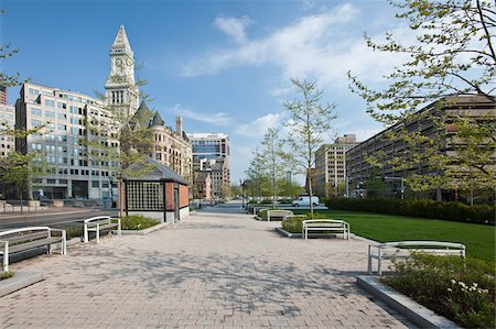Rose Kennedy Greenway with Custom House Tower in city, Boston, Massachusetts, USA Stock Photo - Premium Royalty-Free, Code: 6105-05397262