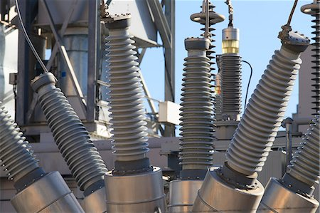 High voltage transformers at electric plant Stock Photo - Premium Royalty-Free, Code: 6105-07521393
