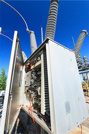 Instrumentation and monitoring unit at high voltage distribution station, Braintree, Massachusetts, USA Stock Photo - Premium Royalty-Free, Code: 6105-07521413