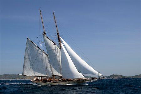 sailboat  ocean - Schooner sailing yacht Stock Photo - Premium Royalty-Free, Code: 6106-05394001
