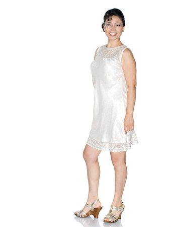 Mature Korean Woman in White Dress, High Key Stock Photo - Premium Royalty-Free, Code: 6106-05445708