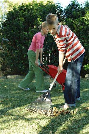 preteen thong - Twins (10-12) in garden, boy racking leaves, girl with wheelbarrow Stock Photo - Premium Royalty-Free, Code: 6106-05454795